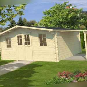 44 mm Gartenhaus + Schleppdach Gerätehaus ca 400x400 cm Blockhaus Holzhaus