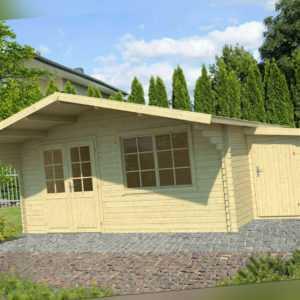 40 mm Gartenhaus 505 x 410 cm + ANBAUSCHUPPEN Holzhaus Blockhaus Gerätehaus Holz