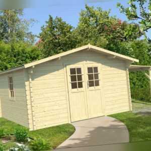 44 mm Gartenhaus + SCHLEPPDACH 400x400 cm Gerätehaus Holzhaus Holzhütte Holz NEU