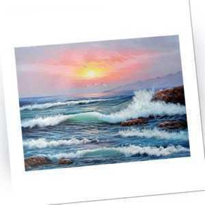 DIY Malen Nach Zahlen für Erwachsene AnfäNger Kinder, Sunset Sea Waves 16X2 L1J4