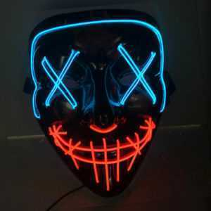 LED Grusel Maske Halloween Horror Verkleidung Gesichtsmaske Horror Party Kostüme