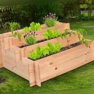 3 Stufen Hochbeet aus Holz 100 x 75 x 40 cm Blumenbeet Pflanzbeet Gemüsebeet