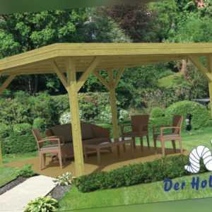 Pavillon Modern Gross Gartenlaube 455x455 cm 11,5 x 11,5 cm Pfosten Holz Neu