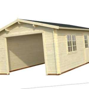 44 mm Holzgarage Roger 5 / 6 / 7 Garage ca. 380 x 570 cm Blockhaus Carport Holz