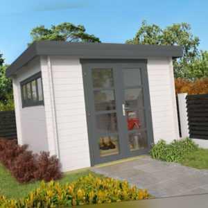 28mm Gartenhaus 300x300cm Flachdach Blockhaus Holzhaus Gerätehaus Holz Holzhütte