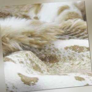 Edelpelz Tierfell Imitat Plüsch | Luchs beige-weiß | Mantel Kragen