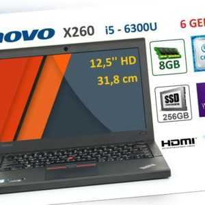 "Lenovo Thinkpad  X260, i5-6300U, 8GB, 256GB SSD, 12.5"" HD, Win10 Pro"