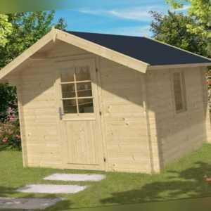 34 mm Gartenhaus 3x3 m + 2 m HOHE Tür + Holz Fussboden Gerätehaus Holzhaus Hütte