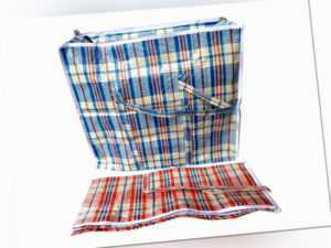 Plastiktasche Plastiktüte Einkaufstaschen Tasche blau oder rot kariert L-XXXL