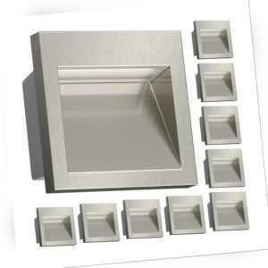 LED Wand-Einbauleuchte Nola für außen, metallic lackiert, 90x90mm, warmweiß, 300