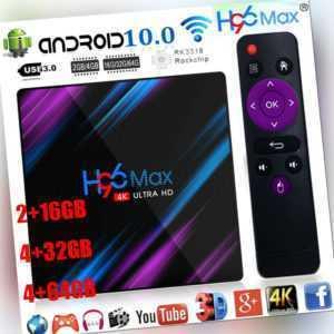 H96 Max Android 10.0 Smart TV Box 64G Quad Core 4K HD 2.4G/5G WiFi Media Player