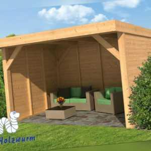 Pavillon Ommen Gartenlaube Holzhaus Gartenhaus 400 x 300 cm Holz Lärche Neu