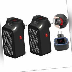 Sichler 2 Mini-Steckdosen-Heizlüfter, Timer, 2 Geschwindigkeits-Stufen, 350 W