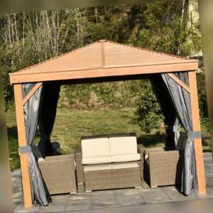 Outsunny Pavillon Partyzelt Festzelt mit Seitenwände Stahldach Aluminium Grau