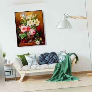 Malen nach Zahlen Kit DIY Farbblumen Leinwand Öl Kunst Bild Handwerk Dekor