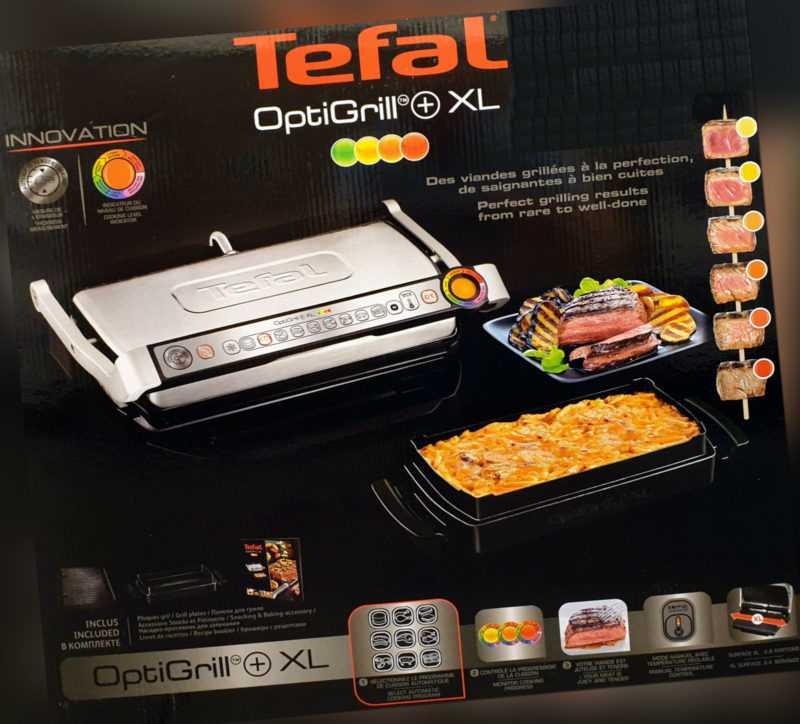 Tefal Optigrill+ XL Kontaktgrill GC724D.SB Snacking & Baking, GC722D + XA7268