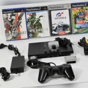 Sony Playstation 2 PS2 Slim inkl. Contr.,Kabel,Eye Toy und 4 Spiele,SCPH-75004
