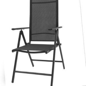 Gartenstuhl Aluminium Hochlehner Alu klappbar verstellbar schwarz Textilene