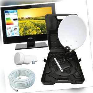 Camping TV Fernseher 13 Zoll SAT DVB-T2 USB + HD Camping SAT Anlage LNB u. Kabe.