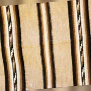 Alpaka Woll-Decke grau braun Streifen 170 x 200 cm, warme Inka