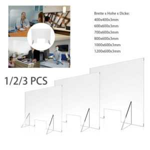 Schutzscheibe Spuckschutz Acrylglas Thekenaufsatz Plexiglas mit Durchreiche DHL