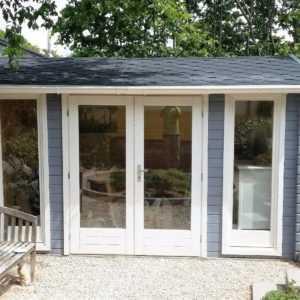 Gartenhaus 40mm Modernes Blockhaus 3.9x3M Pavillion aus Holz Werne EB40041F18