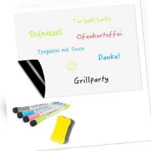 Magnettafel magnetisches Whiteboard Schreibtafel A3 mit Schwamm und 4 Stiften
