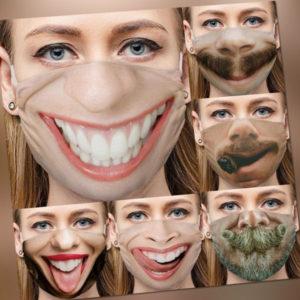 Lustige Mund-Nase-Maske 3D Maske Gesichtsmaske mit Atmungsaktiver Schutz Z171