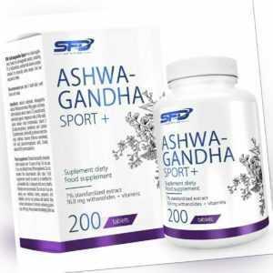 Ashwagandha Extrakt 200 Tabletten Hochdosiert 7% Withanoliden Vitamine C E B6