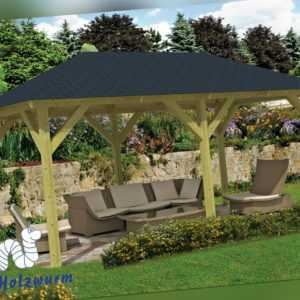 Pavillon Superior Gartenlaube 590x340cm 11,5 x 11,5cm Pfosten Pavillion Holz Neu