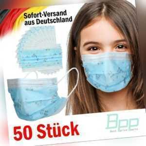 50er Set Mundschutz Mund-Nasen-Schutz 3-lagig Gesichtsmaske Blau mit Muster OP