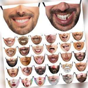 Mode 3D Mundmaske Gedruckte Lustige Gesichtsmaske Atmungsaktiver Schutz Waschbar