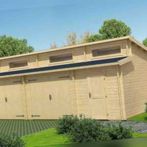 44 mm Holzgarage Hawaii ca. 800x540 cm mit Tor Gerätehaus Blockhaus Holzhaus