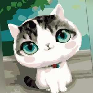 Malen nach Zahlen Set - Acryl Öl Malerei - Katze Cartoon 50x40cm