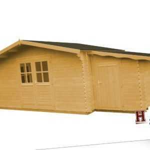 Gartenhaus + Anbauschuppen 440x320 cm Holz Gerätehaus 34 mm Holzhaus Blockhaus