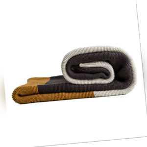 PUCHIKA Strickdecke aus Baumwolle Decke Wohndecke für Sofa Grau