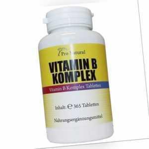 Natural Vitamin B Komplex - 365 Vitamin B Tabletten hochdosiert Vitamin B6 B12