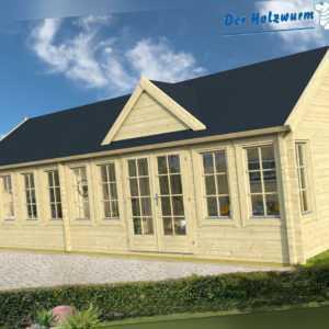70mm Gartenhaus Big Lauren ISO ca. 930x400 cm Ferienhaus Blockhütte Holz