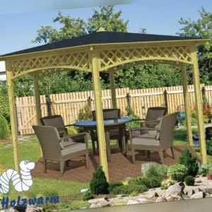 Pavillon Gross Gartenlaube Durchmesser 400 cm 9,5 cm Pfosten Pavillion Holz Neu