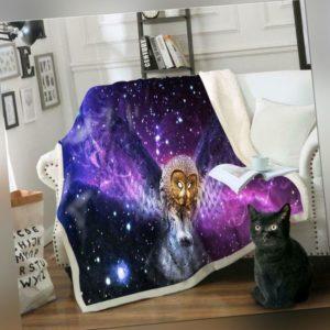 3D Lila Eule ZHU240 Warm Plüsch Fleece Decke Picknick Sofa Couch