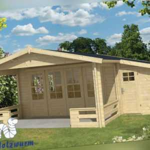 Gartenhaus Manchester ISO Blockhaus 594x663 cm Holzhaus 58mm Terrasse + Anbau