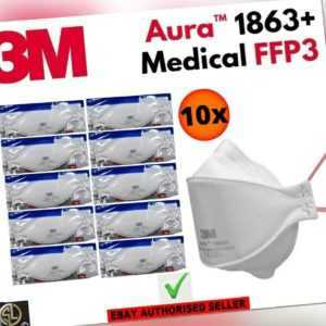 10er Set: 3M™ Aura™ Atemschutzmaske 1863+ FFP3 ohne Ventil - Medizin I CE2797
