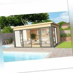 44mm Gartenhaus 418x418cm + Schiebetür + Fußboden Gerätehaus Holzhütte Holz Haus