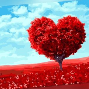 Malen nach Zahlen Set - Acryl Öl Malerei - roter Herz Baum Landschaft 50x40cm