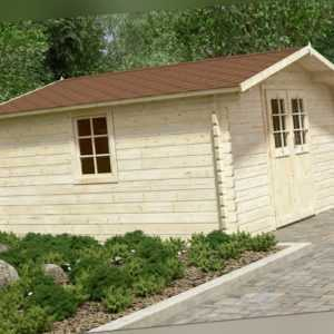 44 mm Gartenhaus Aktion DO5 incl. Schindeln ca.4x4 m Gerätehaus Blockhaus Holz