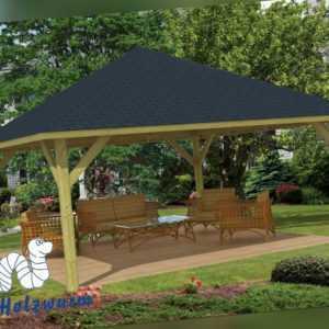 Pavillon Extremo Gartenlaube 550x550cm 11,5 x 11,5cm Pfosten Pavillion Holz Neu