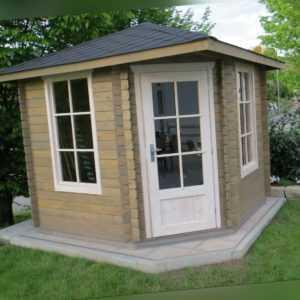 5-Eck Gartenhaus Blockhaus, 2.6x2.6M 5-Eckige aus Holz 28mm Danielle EB28028oF