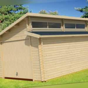 Lasita Maja Holzgarage Garage PANAMA Stufendach 380x536 cm, ohne Tor, 44mm Bohle
