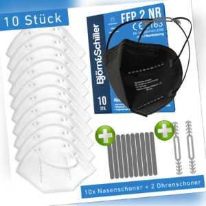 Schwarz 10xFFP2 Maske Atemschutzmaske CE2163 zertifiziert Mundschutz MNS filter