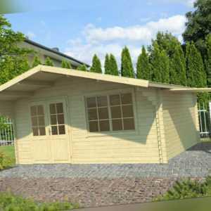 40 mm Gartenhaus + Schleppdach 595x505cm Gerätehaus Blockhaus Holzhaus Holz Neu